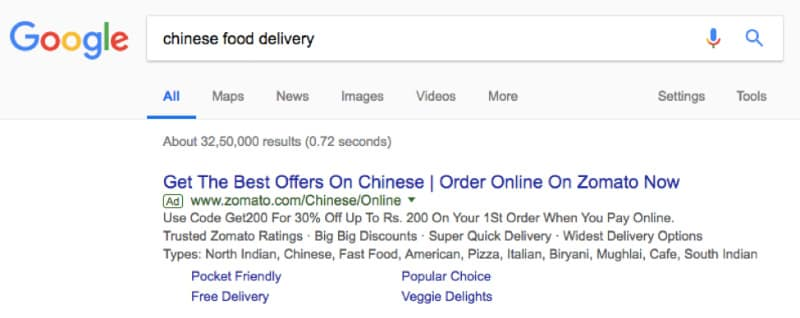 SERP for chinese food delivery keyword example
