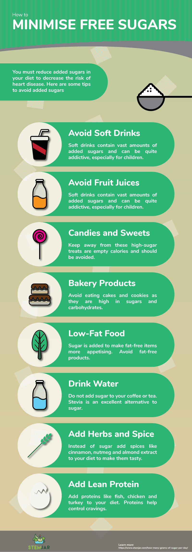 how to minimise free sugar info graphic