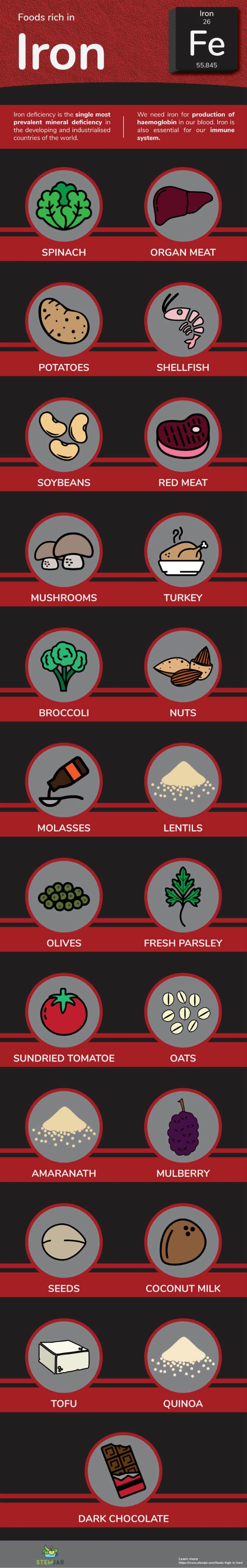 Foods High in Iron info graphic
