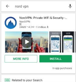 configure nordvpn application on android
