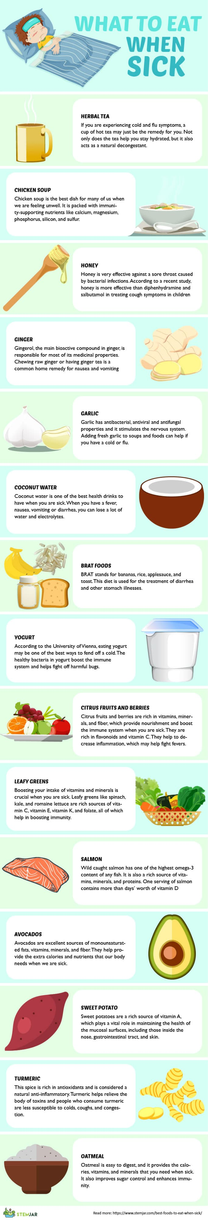15 best foods to eat when you are sick [6th is best] stemjarbest foods to eat when sick infographic